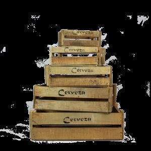 wooden cerveza crates