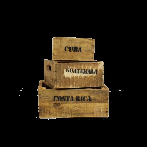 Mini set of wooden crates