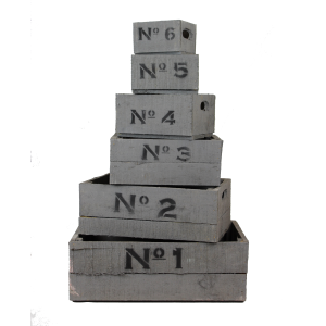 Grey wooden number crates