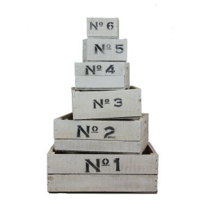 White wooden number crates