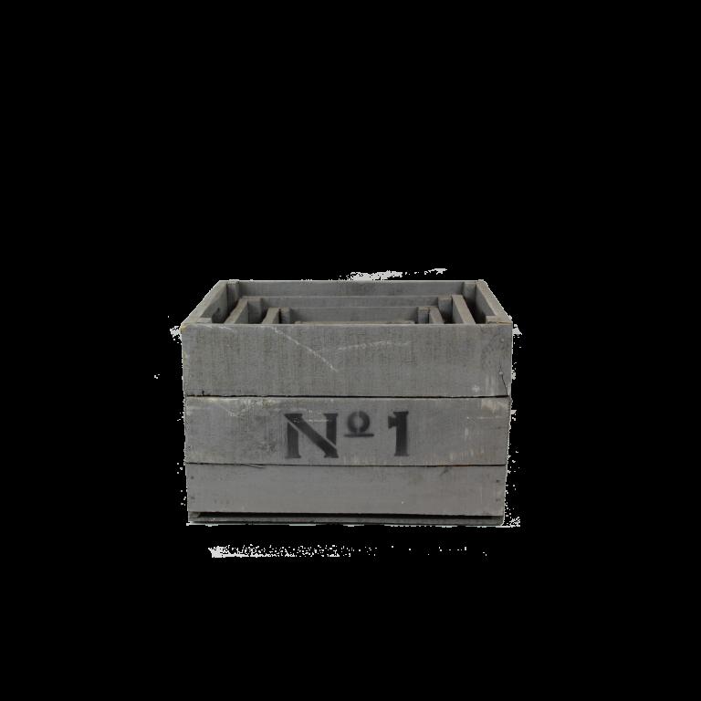 Grijze houten Nº1234 kisten