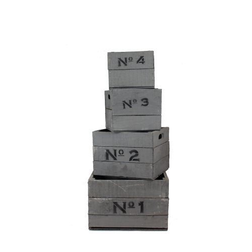 Grey wooden Nº1234 crates