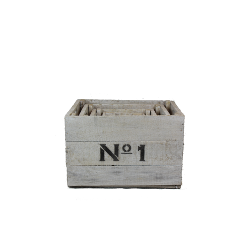 white wooden Nº1234 crates