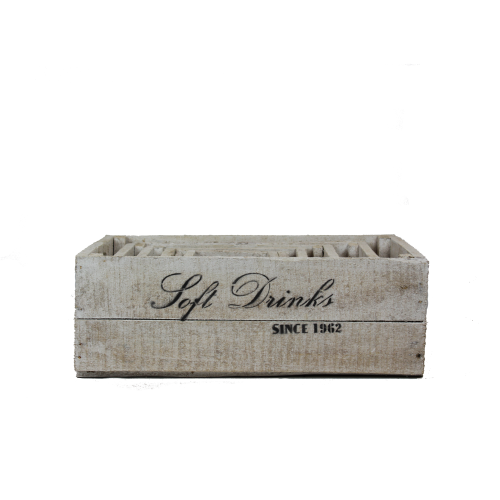 white wooden soft drinks crates