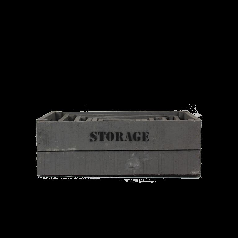Grijze houten storage kisten