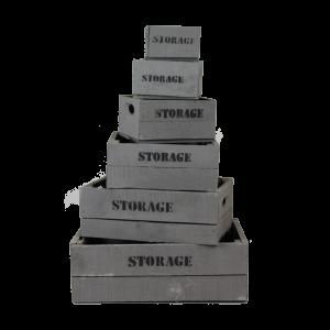 Grey wooden storage crates