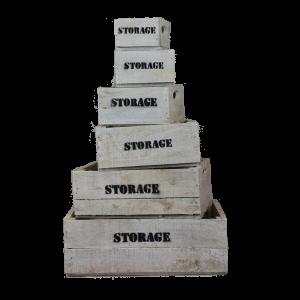 White wooden storage crates