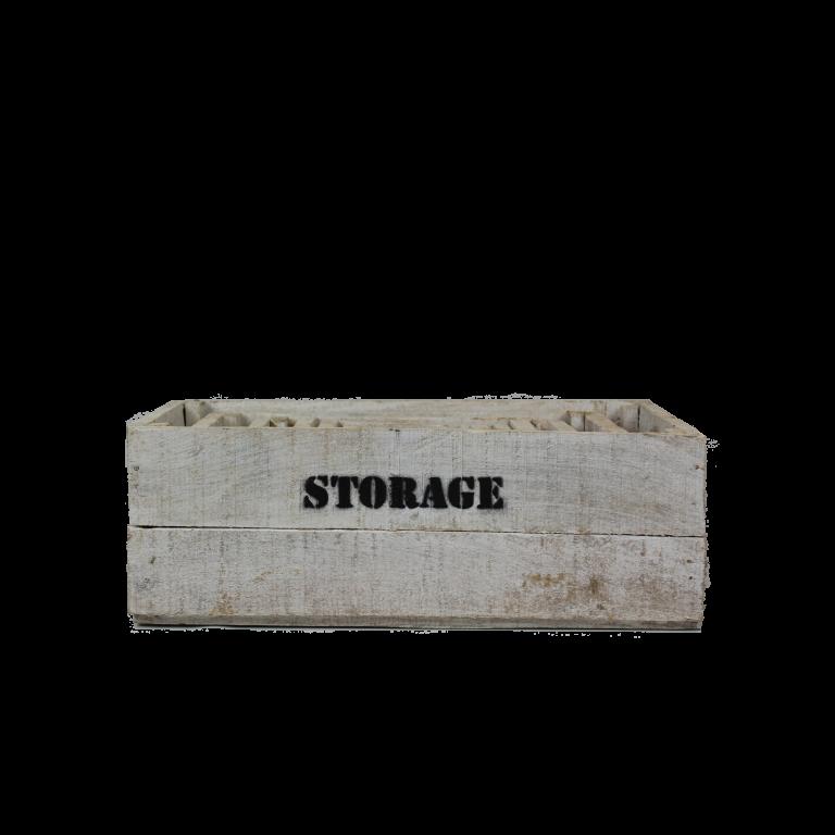 Witte houten storage kisten