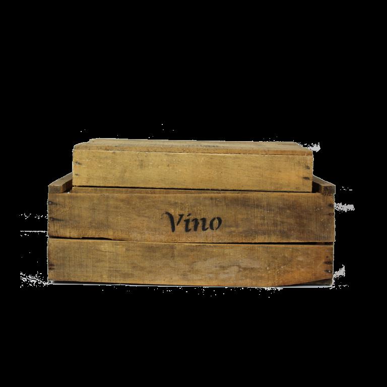 Houten vino kisten met houders
