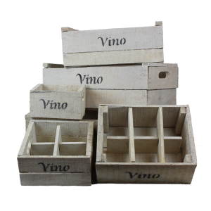 White wooden vino crates with holders
