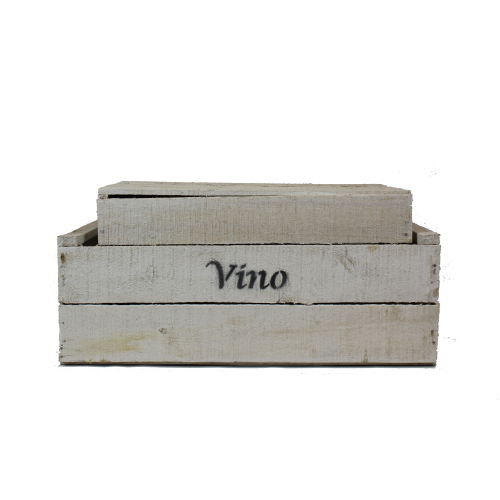 white wooden vino crates