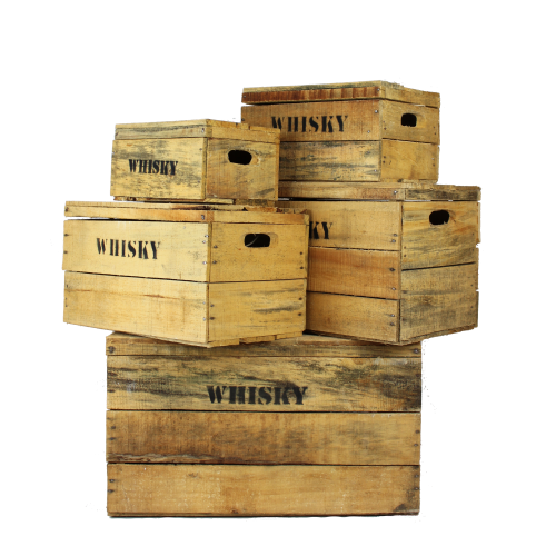 Wooden whisky crates