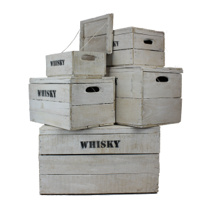 White wooden whisky crates