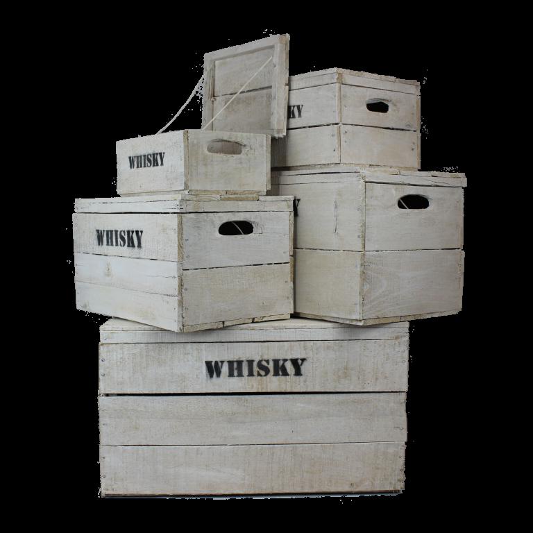 Witte houten Whisky kisten
